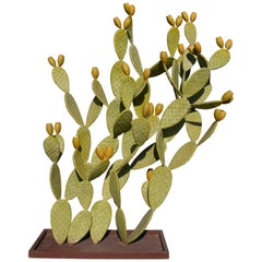 Modern Spanish Hand Painted Cactus Iron Garden Sculpture