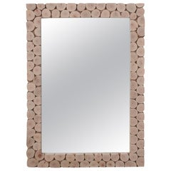 Modern Spanish Rectangular Mirror w/ Hand Made Tree Trunk Mosaic Frame