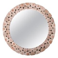 Modern Spanish Round Mirror w/ Hand Made Tree Trunk Mosaic Frame