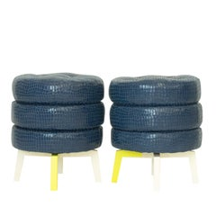 Modern Spongy Footstools with Tufted Top