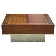 Modern Square Brass and Burl Wood Italian Style Coffee Table