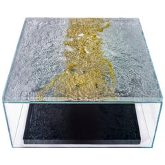 Modern Square Coffee Table Made of Murano Kind Glass, Multi-Layered, Textured