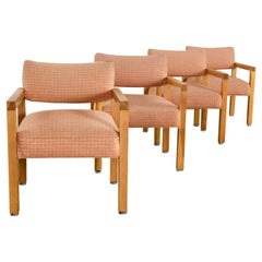 Modern Square Frame Oak Armchairs with Original Blush Textured Fabric, Set of 4