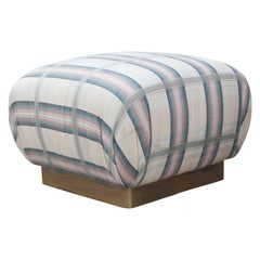 Modern Square Ottoman / Pouf with Brass Base in Blue and White Fabric