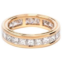 Modern Square Princess Diamond 18 Karat Eternity Band Ring