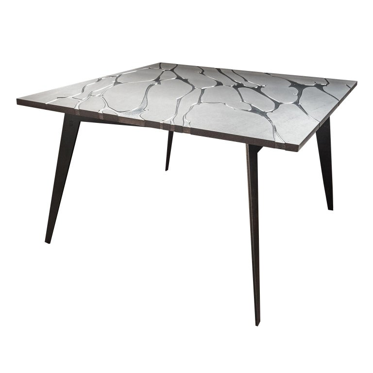 Modern Square Table in Lava Stone and Steel, FilodiFumo 2nd For Sale
