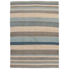 Modern Striped Kilim Handmade Wool Rug