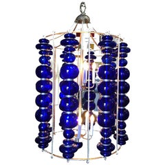 Modern Stacked Cobalt Glass Chandelier with Nickel Finish