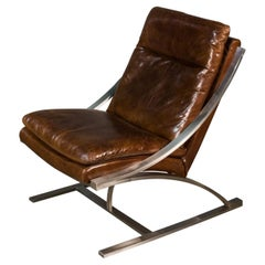 Modern Stainless Steel and Brown Leather Chair