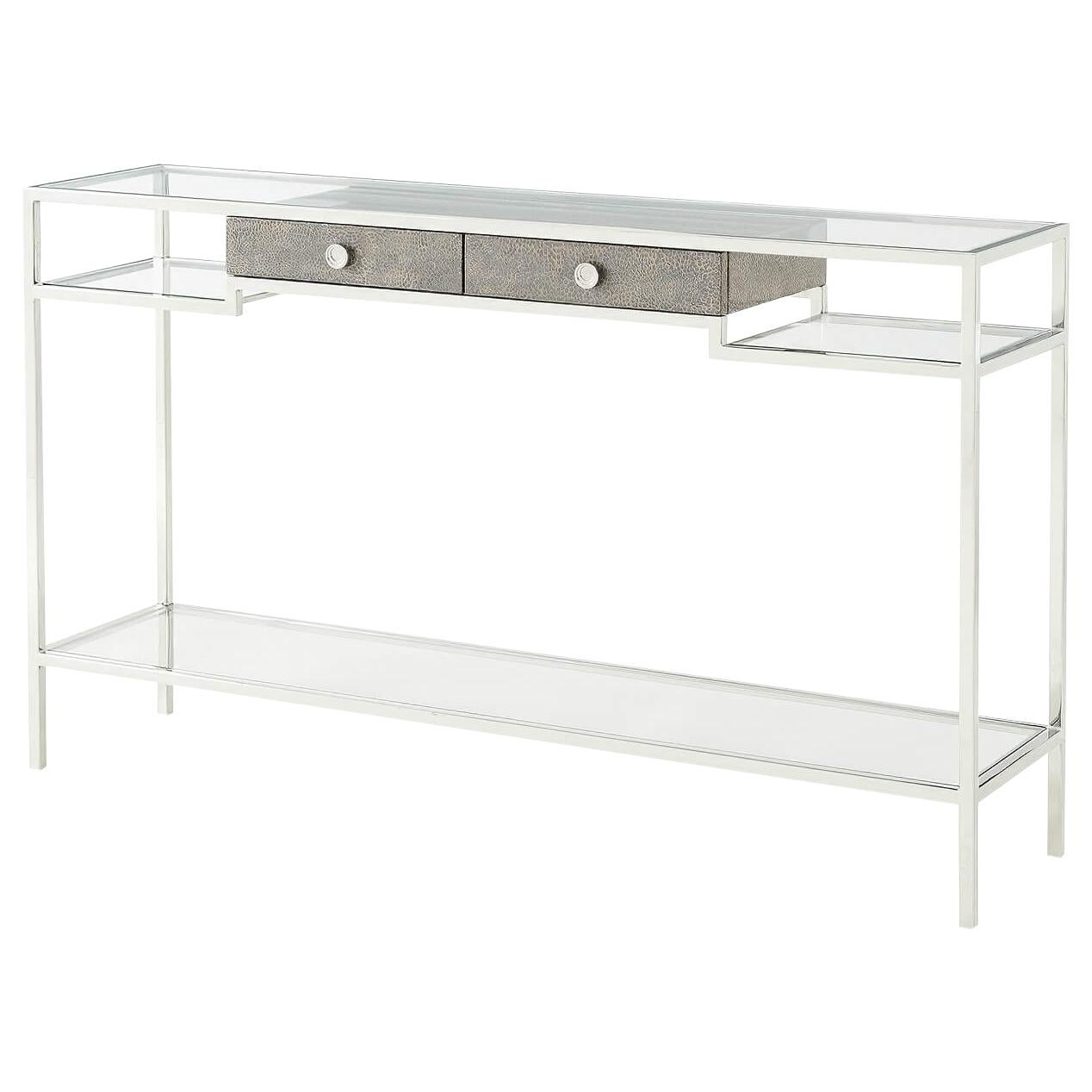 Modern Stainless Steel and Glass Console