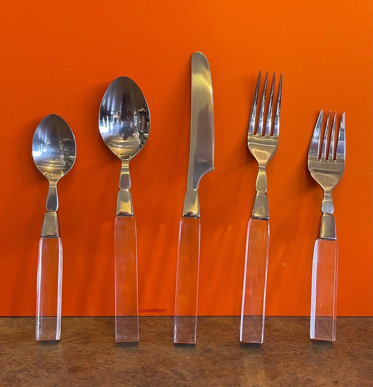 Modern Stainless Steel & Lucite Flatware Set for Seven Plus by Lifetime Cutlery For Sale 2