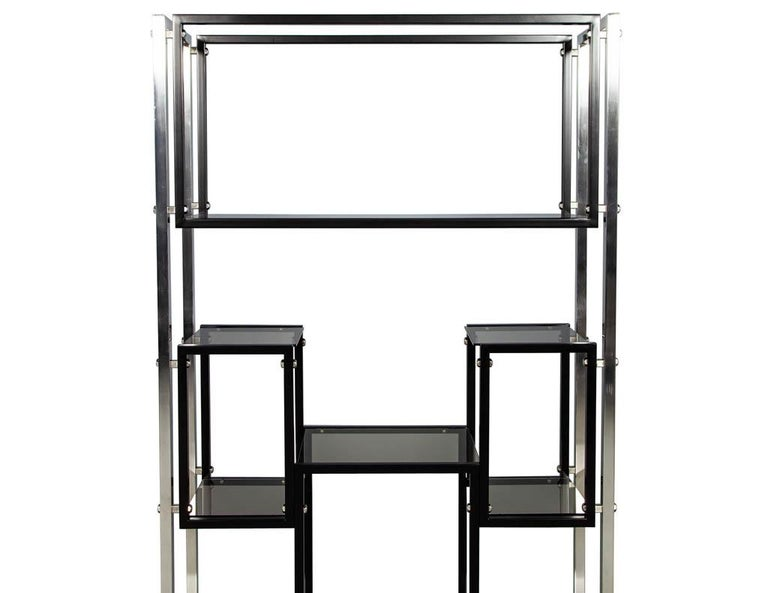 Modern Stainless Steel Smoked Glass Étagère For Sale 5