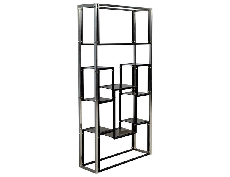 Mid-Century Modern Modern Stainless Steel Smoked Glass Étagère For Sale
