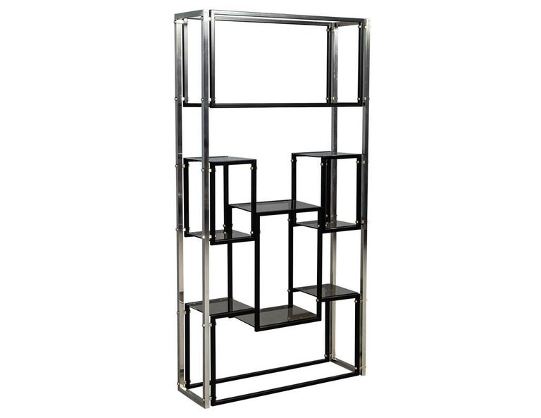 American Modern Stainless Steel Smoked Glass Étagère For Sale