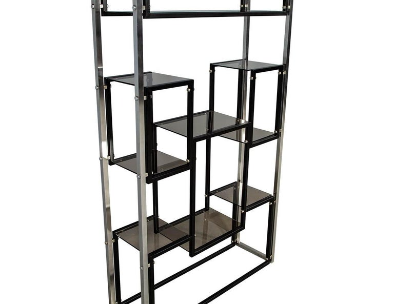 Modern Stainless Steel Smoked Glass Étagère In Good Condition For Sale In North York, ON