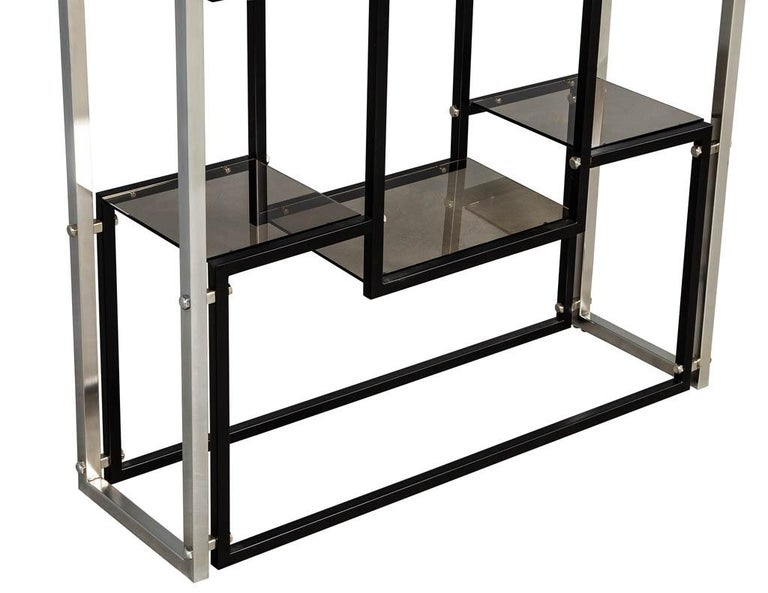 Late 20th Century Modern Stainless Steel Smoked Glass Étagère For Sale