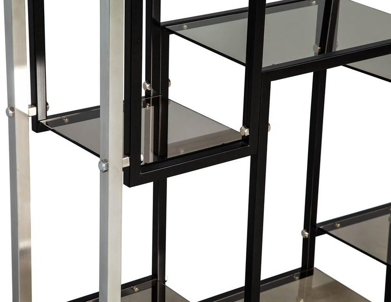 Modern Stainless Steel Smoked Glass Étagère For Sale 1