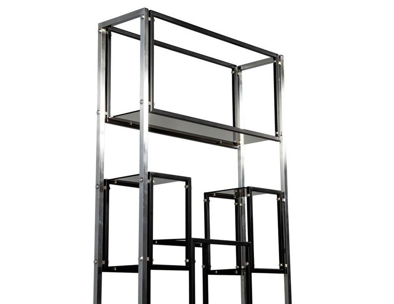 Modern Stainless Steel Smoked Glass Étagère For Sale 2
