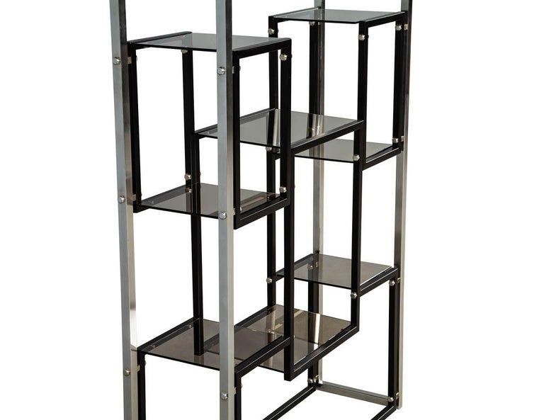 Modern Stainless Steel Smoked Glass Étagère For Sale 3