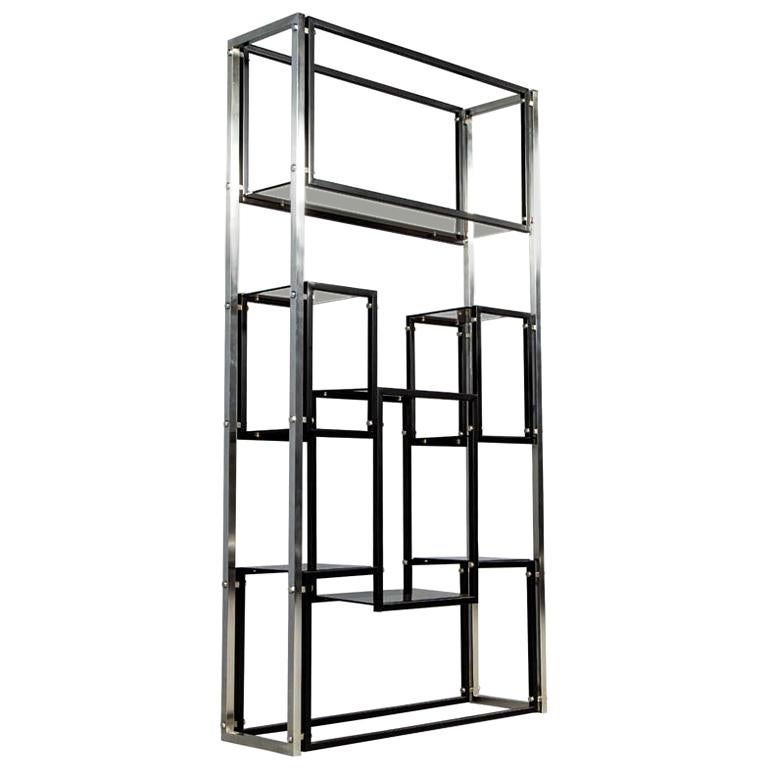 Modern Stainless Steel Smoked Glass Étagère For Sale