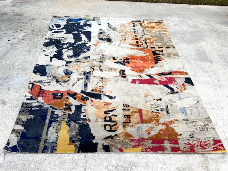 Modern Stark Studio rug, Trisuli-Metro Lexington, Palm Beach Estate Fresh Stunning abstract color pattern, hand knotted wool and silk, measures: 8' x 10'.
