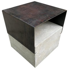Modern Steel and Concrete Side Table