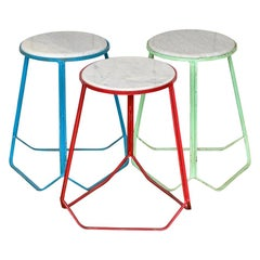 Modern Steel and Marble Stools, 20th Century