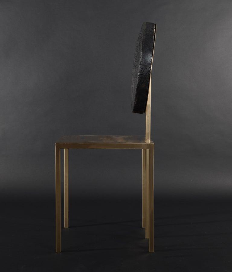 Italian Modern Steel Chair by Dario Cipelletti for NOBE Italia Pendolo Steel Wood Gold For Sale