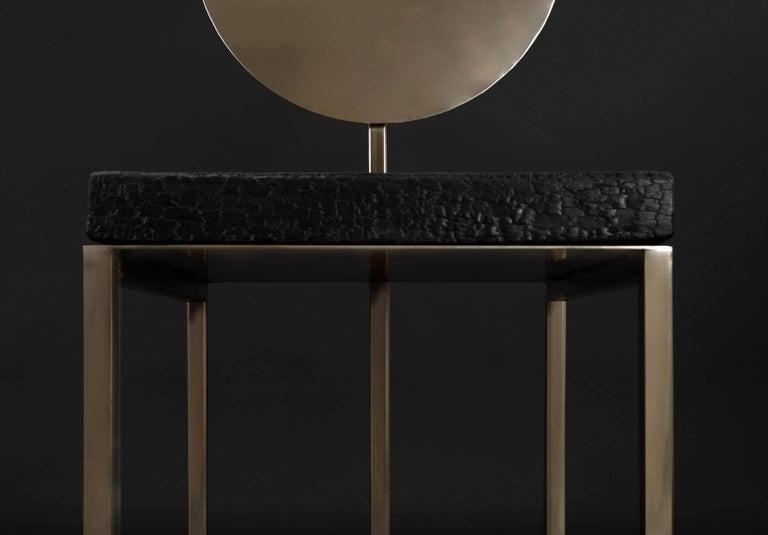 Modern Steel Chair by Dario Cipelletti for NOBE Italia Pendolo Steel Wood Gold In New Condition For Sale In piacenza, IT