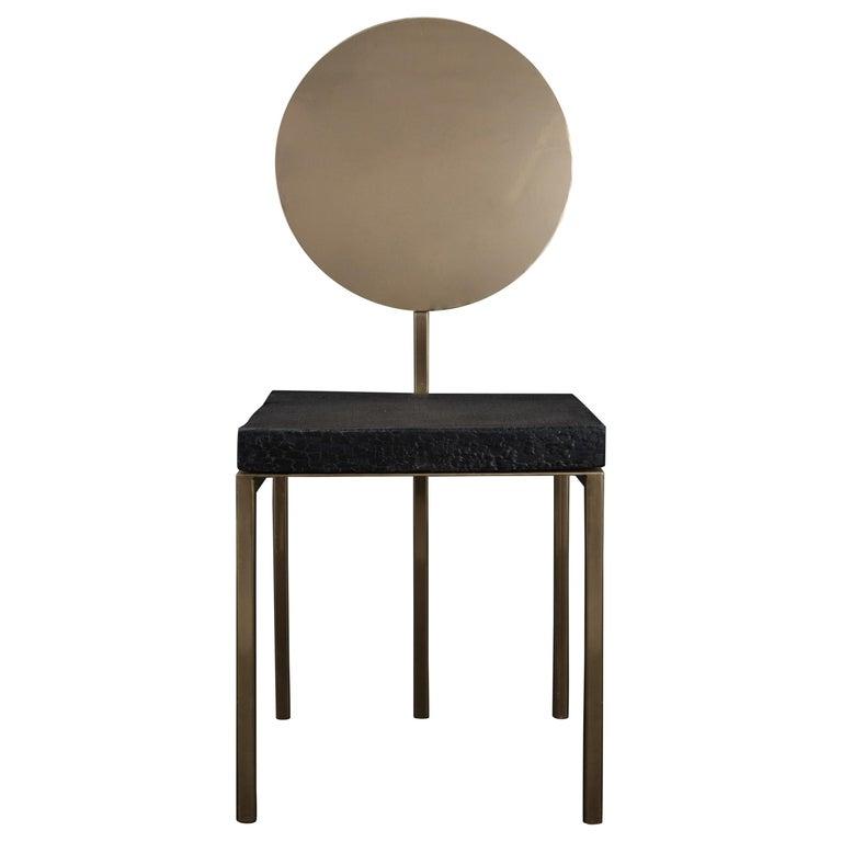Modern Steel Chair by Dario Cipelletti for NOBE Italia Pendolo Steel Wood Gold For Sale