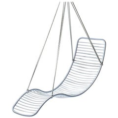 Modern Steel in/Outdoor Pod Hanging Chair White 21st Century Lounger Daybed