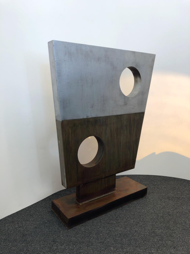"A beautiful solid steel Modern sculpture in the manner renowned sculptor Barbara Hepworth. The sculpture is constructed of 2"" thick solid steel. Not signed to date. 