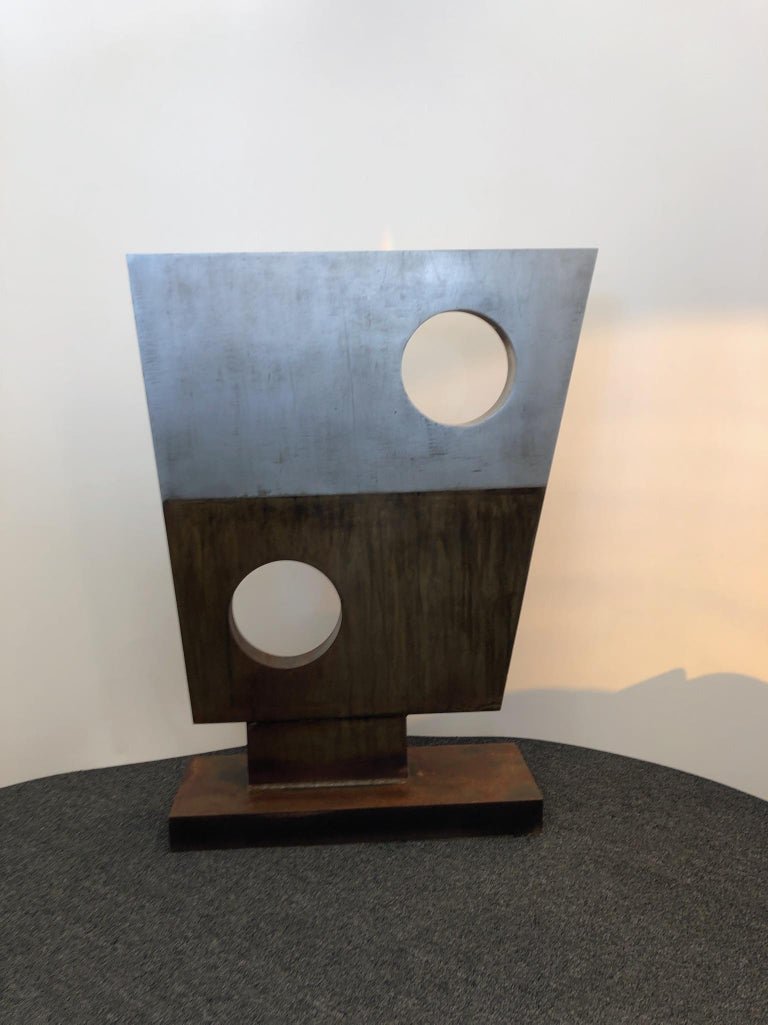 American Modern Steel Sculpture in the Style of Barbara Hepworth For Sale