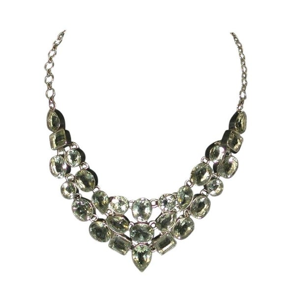 Modern Sterling Silver Necklace, Multi-Set with Green Beryl, Dated 2011