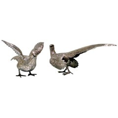 Modern Sterling Silver Pair Pheasants Imported Marked London 1959 F & Sons Ltd