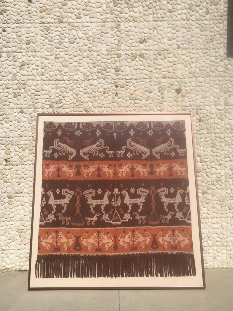 Primitive Modern Steve Chase Palm Springs Estate Indonesian Ikat Woven Framed Wall Art  For Sale