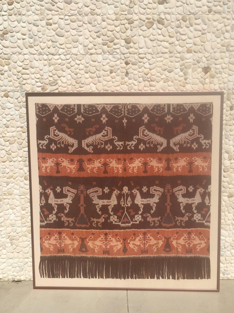 Modern Steve Chase Palm Springs Estate Indonesian Ikat Woven Framed Wall Art  In Good Condition For Sale In Palm Springs, CA