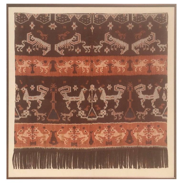 Modern Steve Chase Palm Springs Estate Indonesian Ikat Woven Framed Wall Art  For Sale
