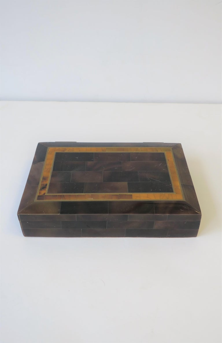 Polished Modern Marble and Brass Jewelry Box For Sale