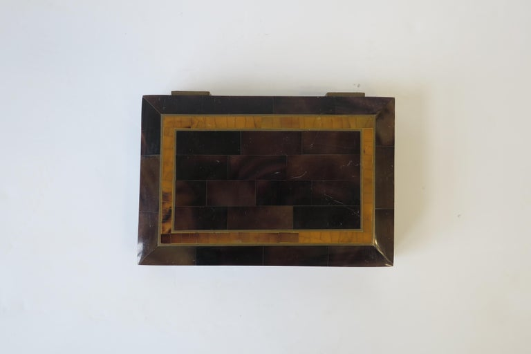 A beautiful Modern style tessellated and polished brown and caramel colored inlaid marble stone and brass jewelry, vanity, or desk box, with velvet interior, circa late 20th Century. Box is well made and attributed to 20th century designer