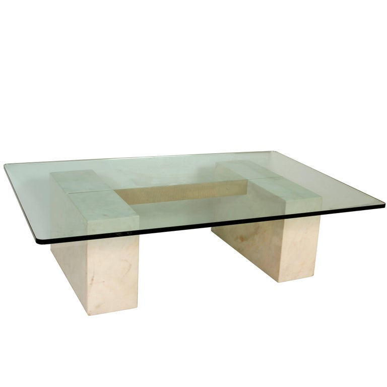 Modern Stone, Glass and Brass Coffee Table