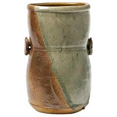 Modern Stoneware Ceramic Vase by Astoul in La Borne 1982 Shinny Grey Color