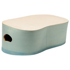 Modern Stoneware Low Ceramic Stool by French Artist Low or Coffee Table Green
