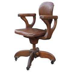Modern Streamline Adjustable Wooden Mechanism Craftsman Naugahyde Office Chair