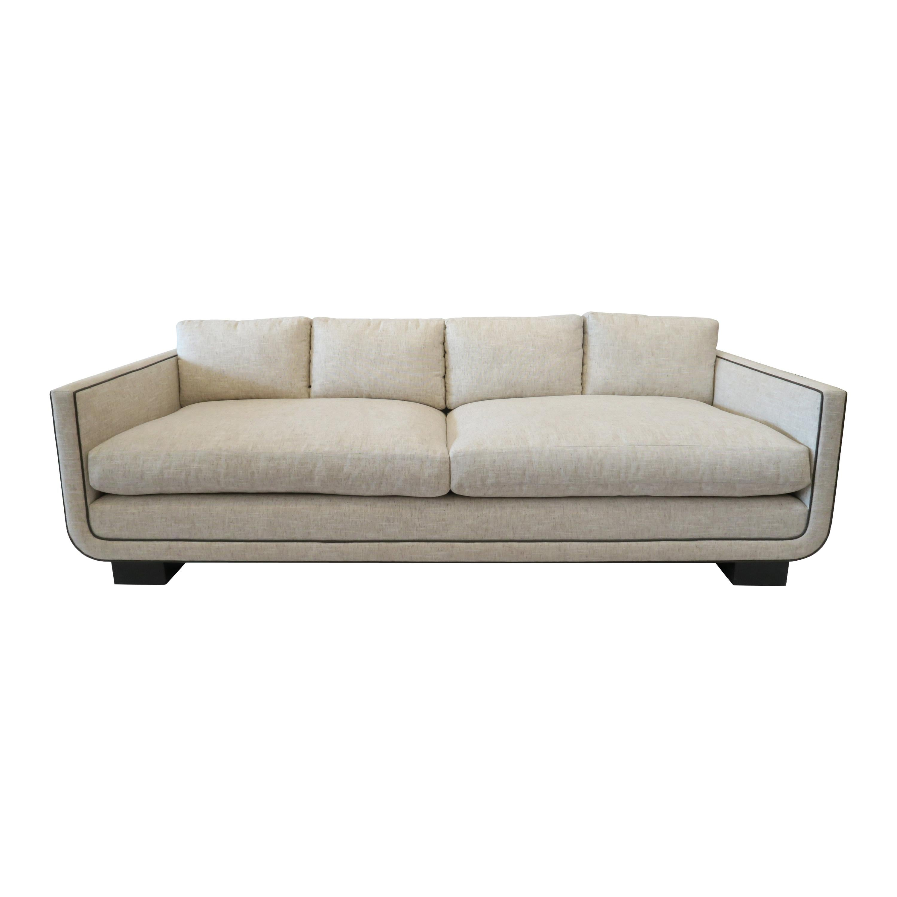 Modern Streamline Sofa with Curved Frame Detail by Martin and Brockett, Linen