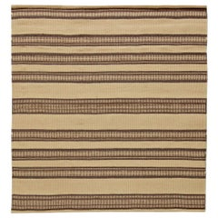 Modern Striped Beige and Brown Handwoven Wool Rug