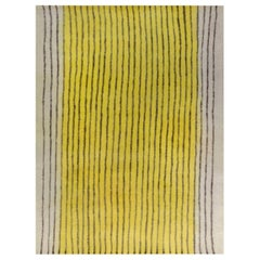 Modern Striped Beige, Black, and Yellow Hand knotted Wool Rug