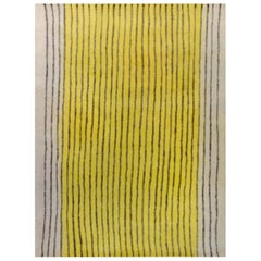 Modern Striped Beige, Black, and Yellow Handmade Wool Rug
