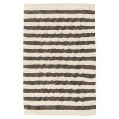Modern Striped Creamy White and Dark Gray Taurus Collection Rug
