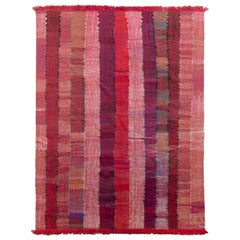 Modern Striped Kilim Geometric Red Pink Flat-Weave by Rug & Kilim